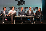 (L-R) Executive producer/actors Rhys Thomas, Bill Hader, Seth Meyers, Fred Armisen and Alex Buono speaks onstage during the 'Documentary Now!' panel discussion at the AMC/IFC Networks portion of the 2015 Summer TCA Tour at The Beverly Hilton Hotel on July 31, 2015 in Beverly Hills, California.