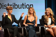 (L-R) Models Tyra Banks and Chrissy Teigen and TV host Lauren Makk speak onstage during the 'The FAB Life' panel discussion at the ABC Entertainment portion of the 2015 Summer TCA Tour at The Beverly Hilton Hotel on August 4, 2015 in Beverly Hills, California.