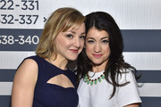 Geneva Carr (L) and Sarah Stiles attend the 2015 Tony Awards Meet The Nominees Press Reception at the Paramount Hotel on April 29, 2015 in New York City.