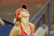 Sabine Lisicki of Germany reacts after a shot to Barbora Strycova of Czech Republic during their Women's Singles Third Round match on Day Six of the 2015 US Open at the USTA Billie Jean King National Tennis Center on September 5, 2015 in the Flushing neighborhood of the Queens borough of New York City.