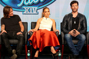 (L-R) Musician/judge Keith Urban, singer/actress/judge Jennifer Lopez and musician/actor/judge Harry Connick, Jr. speak onstage during the 'American Idol' panel discussion at the FOX portion of the 2015 Winter TCA Tour at the Langham Hotel on January 17, 2015 in Pasadena, California.