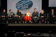 (L-R) Mentor Scott Borchetta, host Ryan Seacrest, musician/judge Keith Urban, singer/actress/judge Jennifer Lopez, musician/actor/judge Harry Connick, Jr. and executive producers Trish Kinane and Per Blankens speak onstage during the 'American Idol' panel discussion at the FOX portion of the 2015 Winter TCA Tour at the Langham Hotel on January 17, 2015 in Pasadena, California.