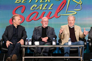 Actor Bob Odenkirk, actor Jonathan Banks and actor Michael McKean speak onstage during the 'Better Call Saul ' panel at the AMC portion of the 2015 Winter Television Critics Association press tour at the Langham Hotel on January 10, 2015 in Pasadena, California.