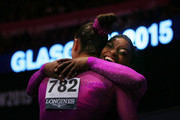 Simone Biles of United States hugs team mate Margaret Nichols during day ten of The World Artistic Gymnastics Championships at The SSE Hydro on November 01, 2015 in Glasgow, Scotland.
