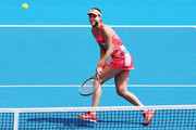 Ana Ivanovic of Serbia plays a forehand during her first round doubles match with Kirsten Flipkens of Belgium against Andrea Hlavackova and Lucie Hradecka of Czech Republic during day one of the 2016 ASB Classic at the ASB Tennis Arena on January 4, 2016 in Auckland, New Zealand.