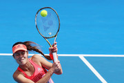 Ana Ivanovic of Serbia plays a backhand during her first round doubles match with Kirsten Flipkens of Belgium against Andrea Hlavackova and Lucie Hradecka of Czech Republic during day one of the 2016 ASB Classic at the ASB Tennis Arena on January 4, 2016 in Auckland, New Zealand.