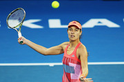 Ana Ivanovic of Serbia plays a forehand during her first round match against Naomi Broady of Great Britain during day two of the 2016 ASB Classic at the ASB Tennis Arena on January 5, 2016 in Auckland, New Zealand.