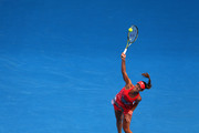 Ana Ivanovic of Serbia serves in her first round match against Tammi Patterson of Australia during day two of the 2016 Australian Open at Melbourne Park on January 19, 2016 in Melbourne, Australia.