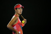 Ana Ivanovic of Serbia looks on during a delay in play in her second round match against Anastasija Sevastova of Latvia during day four of the 2016 Australian Open at Melbourne Park on January 21, 2016 in Melbourne, Australia.
