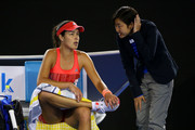 The chair umpire speaks to Ana Ivanovic of Serbia during a delay in play in her second round match against Anastasija Sevastova of Latvia during day four of the 2016 Australian Open at Melbourne Park on January 21, 2016 in Melbourne, Australia.
