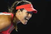 Ana Ivanovic of Serbia reacts in her second round match against Anastasija Sevastova of Latvia during day four of the 2016 Australian Open at Melbourne Park on January 21, 2016 in Melbourne, Australia.