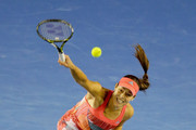 Ana Ivanovic of Serbia serves during her third round match against Madison Keys of America during day six of the 2016 Australian Open at Melbourne Park on January 23, 2016 in Melbourne, Australia.