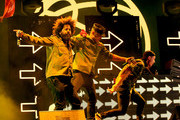 (L-R) Musicians Jillionaire, Walshy Fire and Diplo of Major Lazer perform onstage during day 3 of the 2016 Coachella Valley Music & Arts Festival Weekend 2 at the Empire Polo Club on April 24, 2016 in Indio, California.