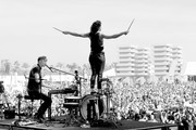 Image has been converted to black and white.) Musicians Matt Johnson (L) and Kim Schifino of Matt and Kim perform onstage during day 3 of the 2016 Coachella Valley Music & Arts Festival Weekend 2 at the Empire Polo Club on April 24, 2016 in Indio, California.