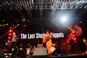 (L-R) Musicians Miles Kane, Alex Turner, and Zach Dawes of The Last Shadow Puppets perform onstage during day 1 of the 2016 Coachella Valley Music & Arts Festival Weekend 1 at the Empire Polo Club on April 15, 2016 in Indio, California.