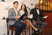 (L-R) Actor Adam Jacobs, Courtney Reed and James Monroe Inglehart attend the 2016 Drama League Award Nominee Announcement Ceremony at Sardi's on April 20, 2016 in New York City.