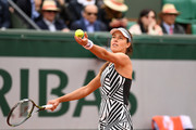 Ana Ivanovic of Serbia serves during the Women's Singles first round match against Oceane Dodin of France on day three of the 2016 French Open at Roland Garros on May 24, 2016 in Paris, France.