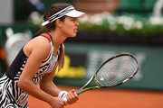 Ana Ivanovic of Serbia prepares to receive a serve during the Women's Singles first round match against Oceane Dodin of France on day three of the 2016 French Open at Roland Garros on May 24, 2016 in Paris, France.