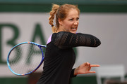 Bojana Jovanovski of Serbia plays a forehand during the Women's Singles first round match against Agnieszka Radwanska of Poland on day two of the 2016 French Open at Roland Garros on May 23, 2016 in Paris, France.