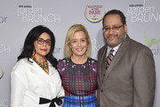 (L-R) Marcia Dyson, Hilary Rosen, and Michael Eric Dyson attend the Garden Brunch prior to the 102nd White House Correspondents' Association Dinner at the Beall-Washington House on April 30, 2016 in Washington, DC.