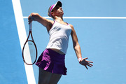 Sabine Lisicki of Germany serves to Daria Gavrilova of Australia Green during day one of the 2016 Hopman Cup at Perth Arena on January 3, 2016 in Perth, Australia.