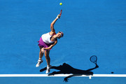Sabine Lisicki of Germany serves to  Heather Watson of Great Britain in the womens singles match during day six of the 2016 Hopman Cup at Perth Arena on January 8, 2016 in Perth, Australia.