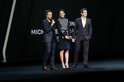 (L-R) Aaron Paul, Michelle Monaghan and Hugh Dancy of The Path speak onstage at the 2016 Hulu Upftont on May 04, 2016 in New York, New York.