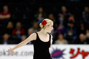 Gracie Gold of Team North America competes in the Ladies Singles Short Program on day 1 of the KOSE Team Challenge at Spokane Arena on April 22, 2016 in Spokane, Washington.