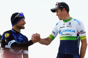 Tom Boonen (l) of Great Britain and Etixx-Quick Step shakes hands with race winner Mathew Hayman of Australia and Orica-GreenEDGE in the 2016 Paris- Roubaix from Compiegne to Roubaix on April 10, 2016 in Paris, France. The 114th edition race will be held over 257km and 27 secteurs of cobbles.