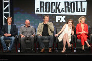 (L-R) Creator/executive producer/showrunner Denis Leary, executive producer Jim Serpico, actors John Corbett, Elizabeth Gillies and Elaine Hendrix speak onstage at 'Sex&Drugs&Rock&Roll' panel discussion during the FX portion of the 2016 Television Critics Association Summer Tour at The Beverly Hilton Hotel on August 9, 2016 in Beverly Hills, California.