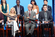 (Back row L-R) Actors D'Arcy Carden, William Jackson Harper, Jameela Jamil and Manny Jacinto (front row L-R) Actors Kristen Bell and Ted Danson and executive producer Drew Goddard speak onstage at 'The Good Place' panel discussion during the NBCUniversal portion of the 2016 Television Critics Association Summer Tour at The Beverly Hilton Hotel on August 2, 2016 in Beverly Hills, California.