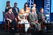 (Back row L-R) Actors D'Arcy Carden, William Jackson Harper, Jameela Jamil and Manny Jacinto (front row L-R) executive producer Michael Schur, actors Kristen Bell and Ted Danson and executive producer Drew Goddard speak onstage at 'The Good Place' panel discussion during the NBCUniversal portion of the 2016 Television Critics Association Summer Tour at The Beverly Hilton Hotel on August 2, 2016 in Beverly Hills, California.
