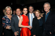 """Carla Gugino (3rd Left), John Molner (3rd Right) and Katie Couric (2nd Right) attend the """"Wolves"""" after party during 2016 Tribeca Film Festival at No. 8 on April 15, 2016 in New York City."""
