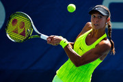 Vitalia Diatchenko of Russia reacts against Timea Bacsinszky of Switzerland during her first round Women's Singles match on Day Two of the 2016 US Open at the USTA Billie Jean King National Tennis Center on August 30, 2016 in the Flushing neighborhood of the Queens borough of New York City.