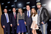 (L-R) Jayson Dinsmore, Philippe Dauman, Joey Lauren Adams, Brian Philips, Madison Iseman and Billy Ray Cyrus attend the 2016 Viacom Kids and Family Group Upfront on March 3, 2016 in New York City.