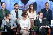 (L-R back) Actors Hale Appleman, Arjun Gupta, Summer Bishil and Executive producer Michael London (L-R front) Actors Jason Ralph, Stella Maeve and executive producer John McNamara speak onstage during 'The Magicians' panel discussion at the NBCUniversal portion of the 2015 Winter TCA Tou at Langham Hotel on January 14, 2016 in Pasadena, California.