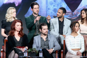 (L-R back) Actors Olivia Taylor Dudley, Hale Appleman, Arjun Gupta and Summer Bishil (L-R front) Executive producer Sera Gamble, actors Jason Ralph and Stella Maeve speak onstage during 'The Magicians' panel discussion at the NBCUniversal portion of the 2015 Winter TCA Tou at Langham Hotel on January 14, 2016 in Pasadena, California.