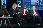 (L-R) Executive producer Jonathan Liebesman, actors Austin Butler and Manu Bennett and executive producer Terry Brooks speak onstage during the MTV - The Shannara Chronicles panel as part of the Viacom portion of This is Cable 2016 Television Critics Association Press Tour at Langham Hotel on January 6, 2016 in Pasadena, California.