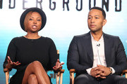 Executive Producers Misha Green and John Legend speak onstage during the Undergournd panel as part of the WGN America portion of This is Cable 2016 Television Critics Association Winter Tour at Langham Hotel on January 8, 2016 in Pasadena, California.