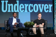 Actor Dennis Haysbert (L) and creator Peter Moffat speak onstage during the Undercover panel as part of the BBC America portion of This is Cable 2016 Television Critics Association Winter Tour at Langham Hotel on January 8, 2016 in Pasadena, California.