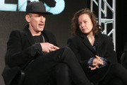(L-R) Executive Producer/Director Johan Renck and actress Samantha Morton speak onstage during The Last Panthers panel as part of the AMC Networks portion of This is Cable 2016 Television Critics Association Winter Tour at Langham Hotel on January 8, 2016 in Pasadena, California.