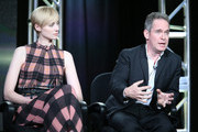 Actors Elizabeth Debicki and Tom Hollander speak onstage during The Night Manager panel as part of the AMC Networks portion of This is Cable 2016 Television Critics Association Winter Tour at Langham Hotel on January 8, 2016 in Pasadena, California.