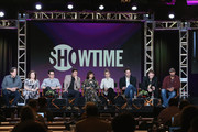 """(L-R) Writer/Director/Executive Producer Cameron Crowe, Executive Producer/Writer Winnie Holzman, Executive Producer J.J. Abrams, actors Luke Wilson, Carla Gugino, Imogene Poots, Peter Cambor, Colson Baker and Finesse Mitchell speak onstage during the """"Roadies"""" panel discussion at the CBS/ShowtimeTelevision Group portion of the 2015 Winter TCA Tour at the Langham Huntington Hotel on January 12, 2016 in Pasadena, California"""