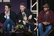 """(L-R) Actors Peter Cambor, Colson Baker and Finesse Mitchell speak onstage during the """"Roadies"""" panel discussion at the CBS/ShowtimeTelevision Group portion of the 2015 Winter TCA Tour at the Langham Huntington Hotel on January 12, 2016 in Pasadena, California"""
