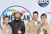 L-R) Hayley Stommel, Tyler Hubbard, Brian Kelley and Brittney Marie Cole attend the 2017 American Music Awards at Microsoft Theater on November 19, 2017 in Los Angeles, California.