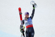 Tessa Worley of France celebrates with her globe for winning the season title for the ladies' Giant Slalom during the 2017 Audi FIS Ski World Cup Finals at Aspen Mountain on March 19, 2017 in Aspen, Colorado.