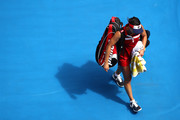 Jelena Jankovic of Serbia walks off the court after losing her third round match against Svetlana Kuznetsova of Russia on day five of the 2017 Australian Open at Melbourne Park on January 20, 2017 in Melbourne, Australia.