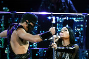 Rapper Nicki Minaj (R) performs onstage during the 2017 Billboard Music Awards at T-Mobile Arena on May 21, 2017 in Las Vegas, Nevada.