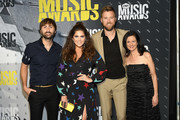 Musicians Dave Haywood, Hillary Scott, and Charles Kelley of Lady Antebellum and Senior Vice President of Music Strategy for CMT Leslie Fram attend the 2017 CMT Music awards at the Music City Center on June 7, 2017 in Nashville, Tennessee.