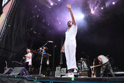 (L-R) Musicians Jacob Tilley, Sameer Gadhia and Payam Doostzadeh of the band Young the Giant perform at the Hangout Stage during 2017 Hangout Music Festival on May 21, 2017 in Gulf Shores, Alabama.